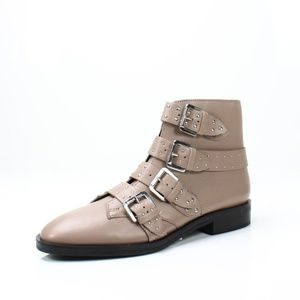 TOPSHOP Paige Nude Leather Studded Buckle Boots